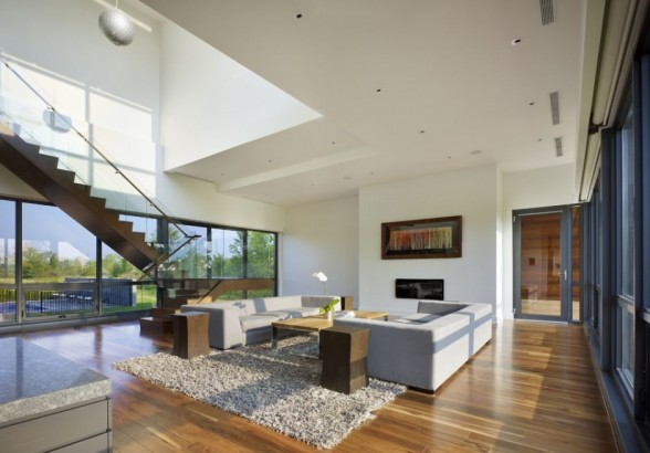 single family living room staircases