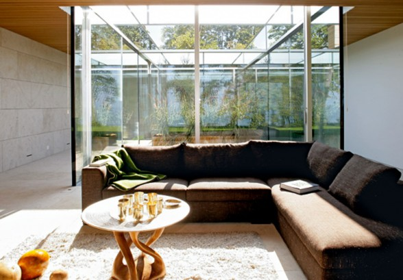 Glass-Bungalow-Design-with-Some-Wooden-Materials-Modern-Couch