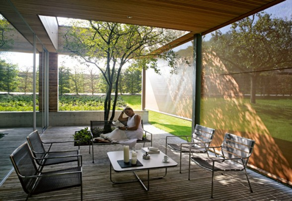 Glass-Bungalow-Design-with-Some-Wooden-Materials-Tree-in-Livingroom