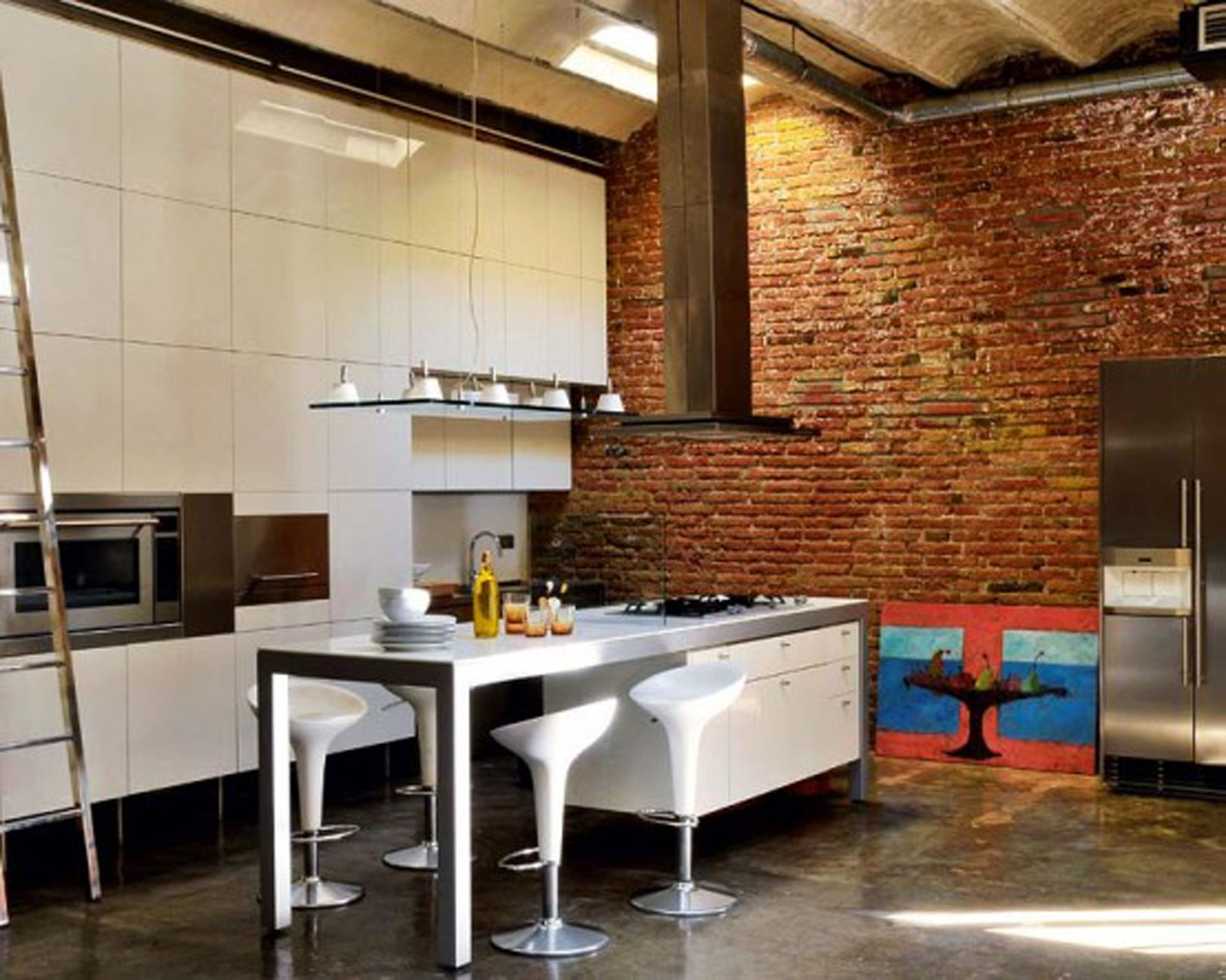 Affordable Modern Loft With Industrial Bricks Element For Apartment Ideas  Dining Room With Flat Ideas Interior