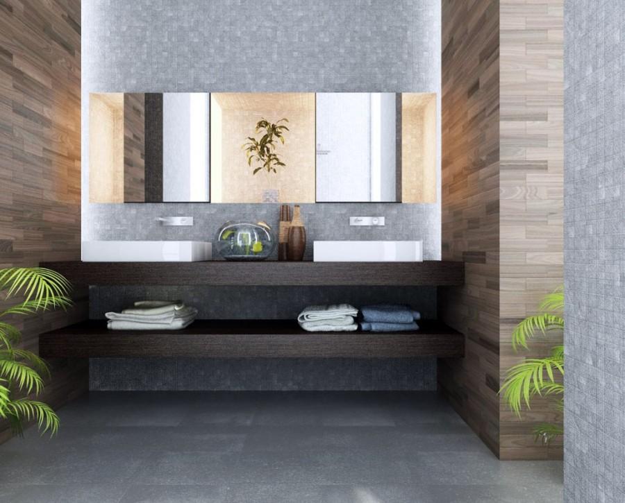 Wooden-Tile-Bathtub-Design