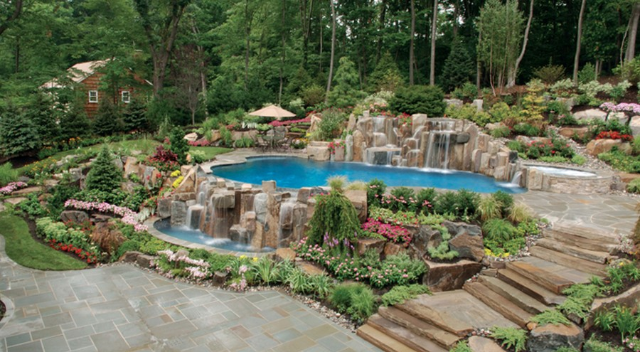 Backyard Natural Infinity Edge Swimming Pool And Waterfall Installation