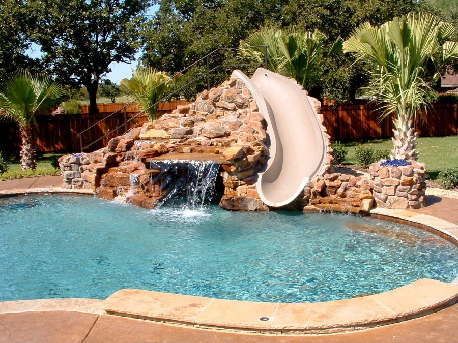 Backyard Swimming Pool Design with Mini Waterfall
