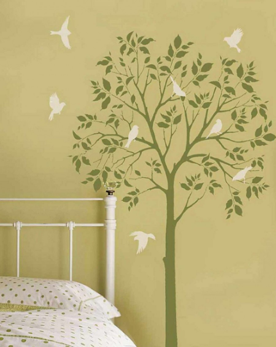 Beige minimalist kids painting bedroom ideas with stunning wall decals