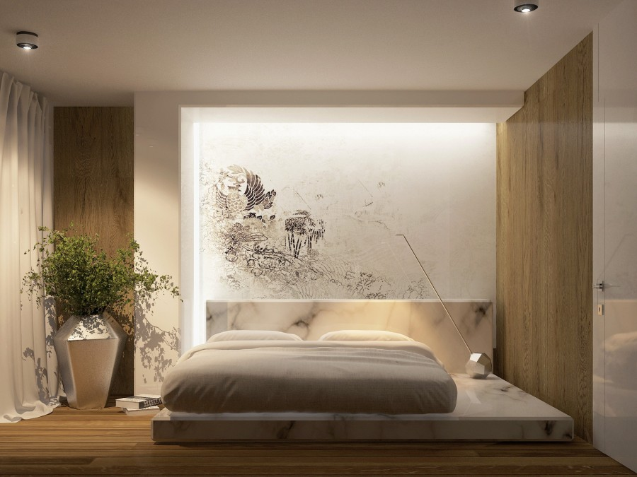Simple-Divine-Modern-Bedroom-Decor-Idea-with-Wood-Marble-Materials