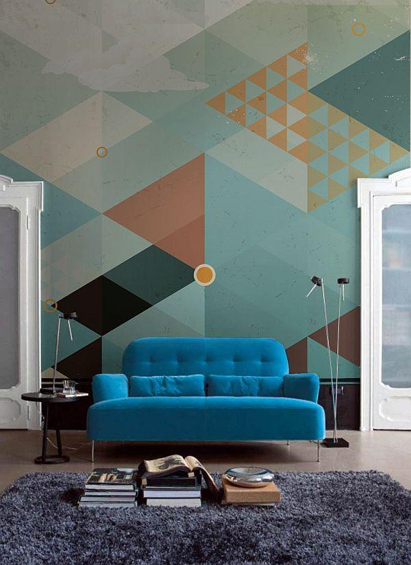 Blue Sofa in Geometrical Interior Design