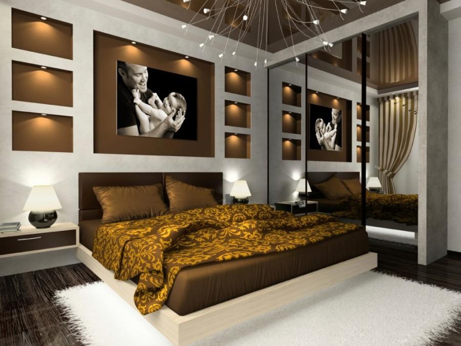 Brown-Bedroom-Lighting-Design-Ideas-with-Brown-Bed-Design