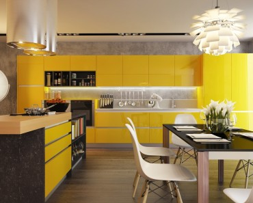 Contemporary Kitchen Interior with a striking yellow color