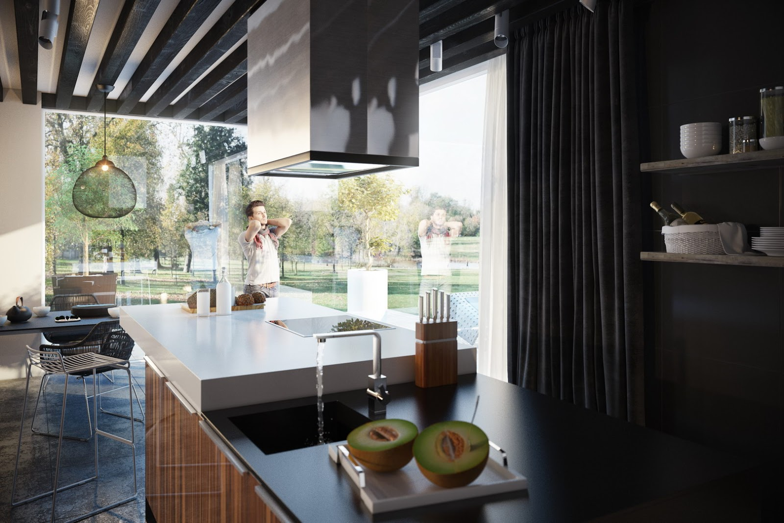 Contemporary Kitchen Interior with natural landscape