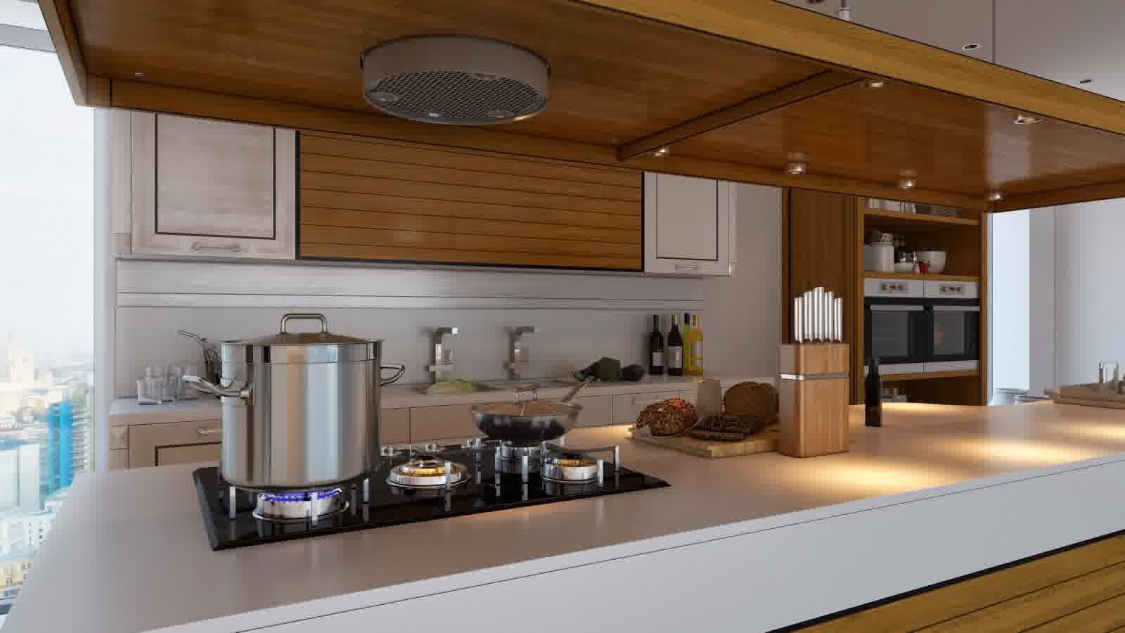 Contemporary Kitchen Interior with ornamental lamps below showcase