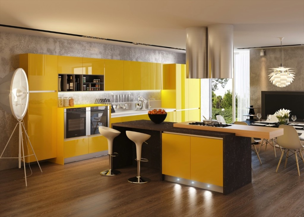 Contemporary Kitchen Interior with pendant lamp