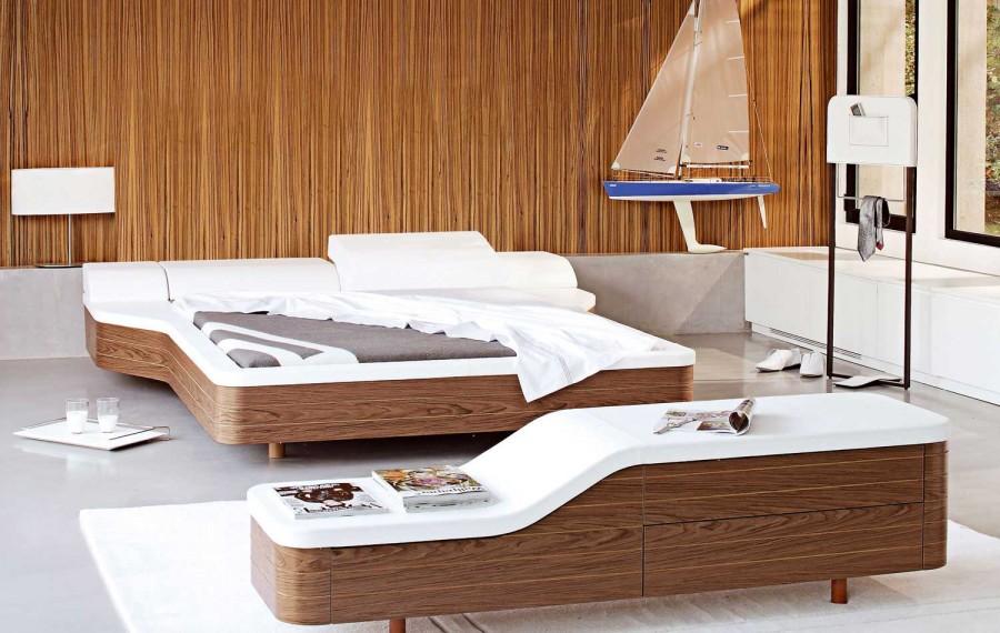 Walnut-White-Unusual-Platform-Bed