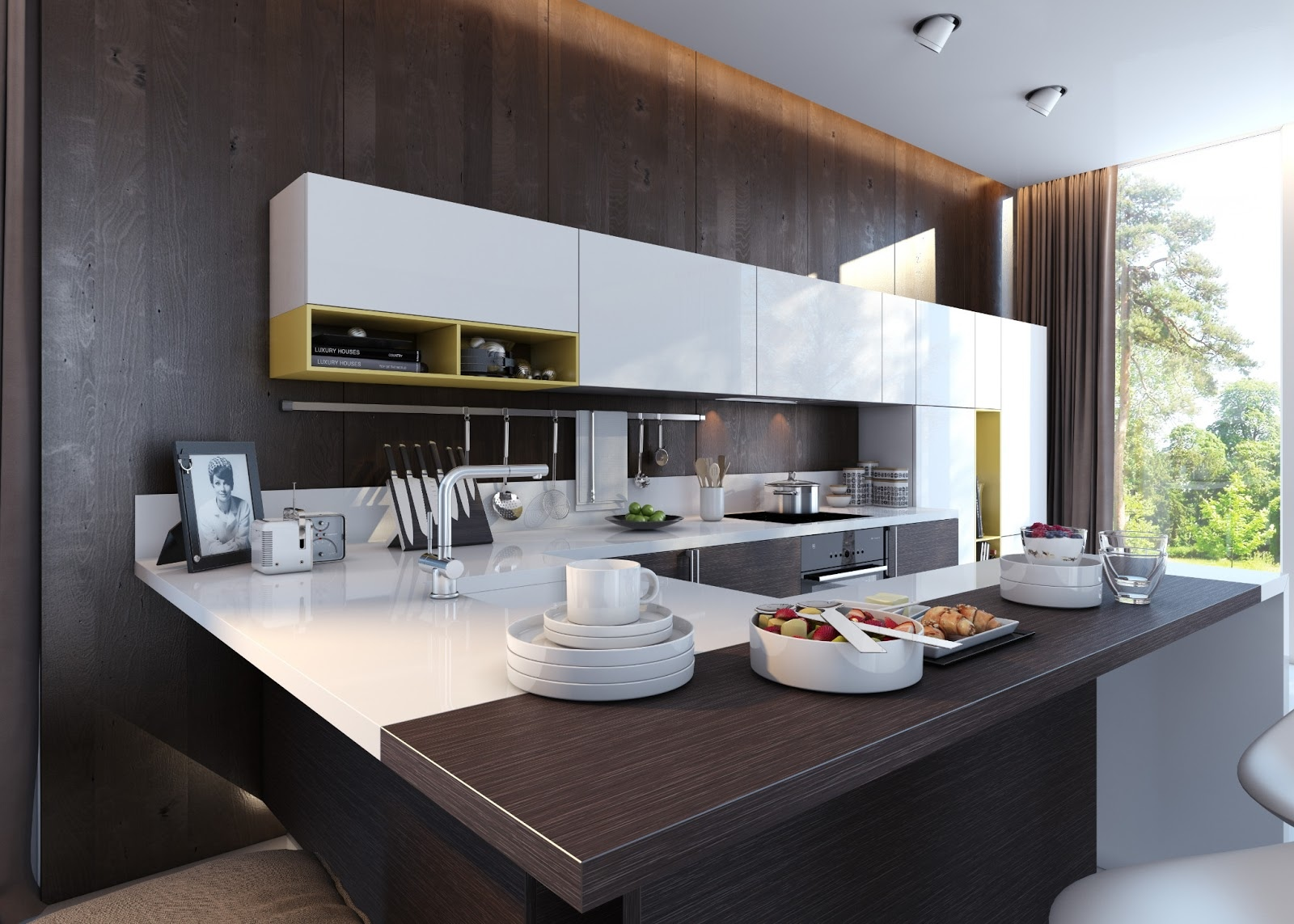 contemporary kitchen interior with mix of white and black wooden