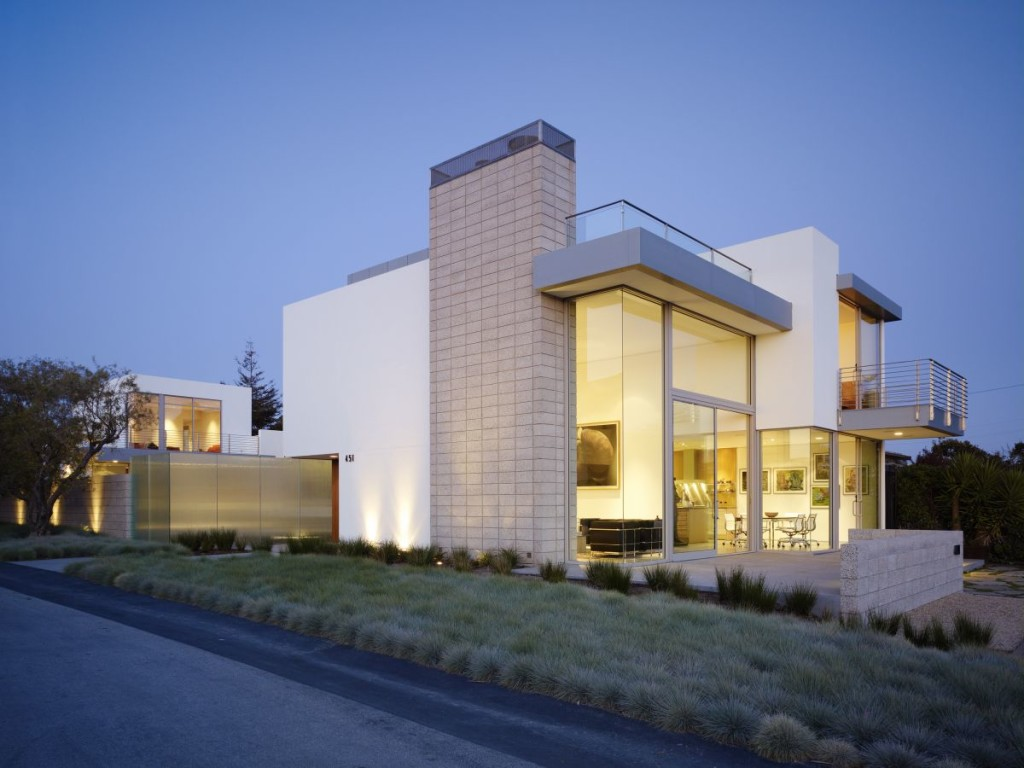Having a modern big house architecture for Concrete block construction homes